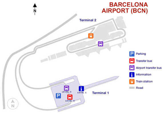 barcelona airport t1 and t2